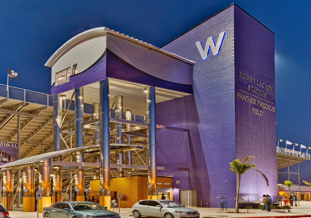 Weslaco Bobby Lackey Stadium Exterior Night